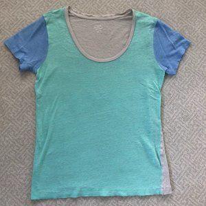 J. Crew Linen Colorblock Tee Shirt
